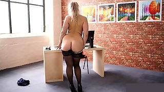Girl Strip Tease On Office