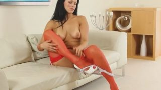 Sexy Nude Striptease Watch Brunette Beauty Katya Nova In Red Lingerie