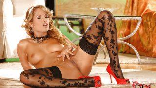 Striptease Girl Watch Slender Blonde Babe Regina Ice In Stockings Masturbates