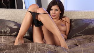 Girl Striptease Watch Slim Brunette Model Candice Luca Stretches Her Twat