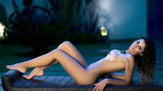 Playboy Striptease Watch Hot Brunette Model Vanessa Alvar Posing Naked
