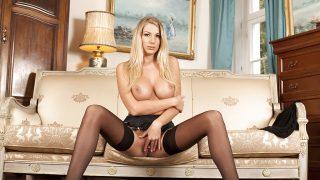 xxx Striptease Watch Busty Blonde Danielle Maye In Lingerie Shows Lower Lips