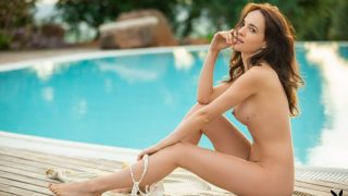 Lovely Brunette Centerfold Babe Stripping Outdoor Watch Bianka Helen